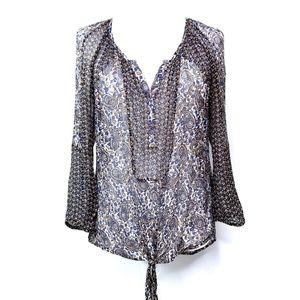 Lucky Brand Semi Sheer Tie Front Blouse  VGC